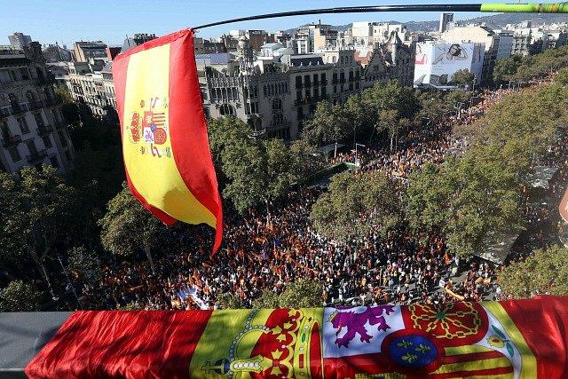Prošpanělská demonstrace v Barceloně