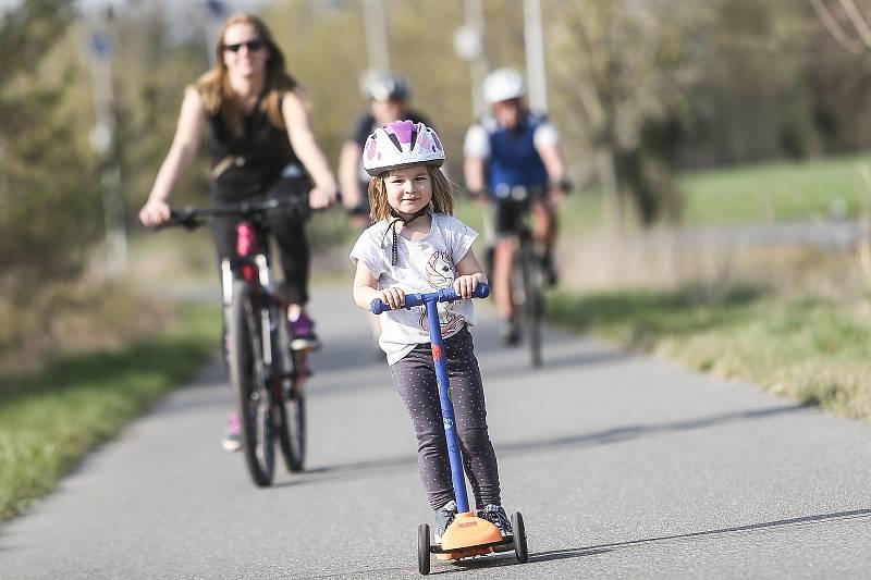 Cyklostezka mezi Kolínem a Veltruby.