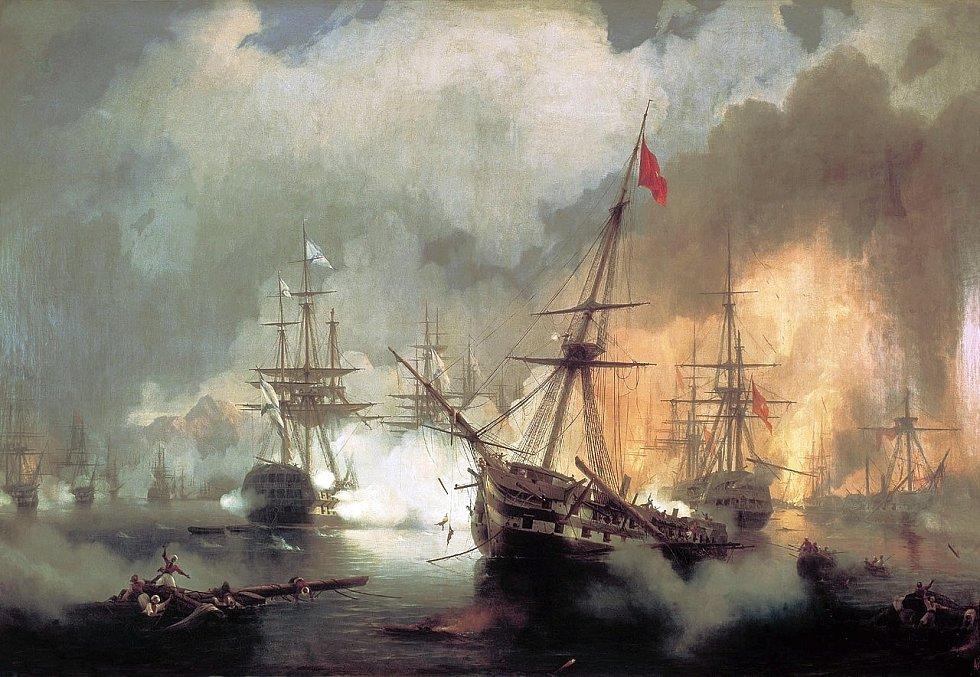 Hořící turecká flotila v zálivu Navarino, 20. říjen 1827
