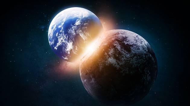 Srážka Země a protoplanety. Ilustrační snímek
