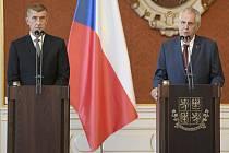 Prezident Miloš Zeman (vpravo) a předseda hnutí ANO Andrej Babiš.