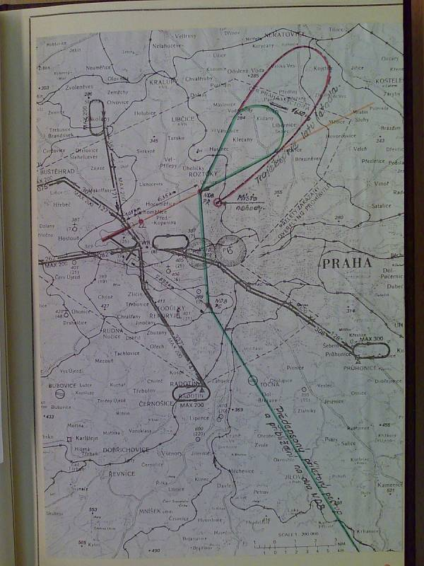 Suchdol, 30. října 1975. Mapa průběhu letu