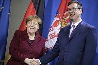 Srbský prezident Aleksandar Vučić a německá kancléřka Angela Merkelová