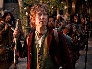 Hobit: Neočekávaná cesta. Na snímku Bilbo Pytlik (Martin Freeman) s trpaslíky