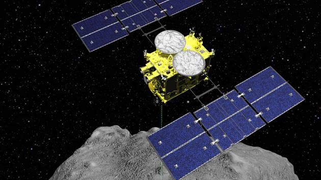Japonská sonda Hajabusa 2 podruhé úspěšně dosáhla povrchu asteroidu Ryugu, který je aktuálně vzdálen od Země 244 milionů kilometrů. Na snímku počítačová animace sondy.