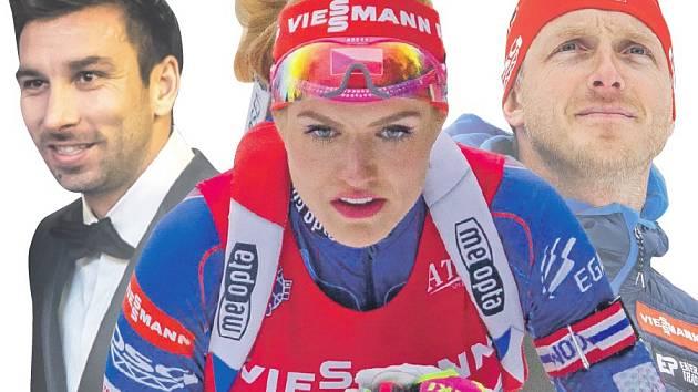Biatlonistka Gabriela Koukalová, Martin Koukal (vlevo) a Ondřej Rybář.
