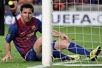 Lionel Messi trápil obranu Plzně, střelecky se ale neprosadil.