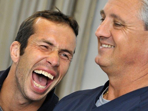 Radek Štěpánek měl na srazu tenisového týmu dobrou náladu.