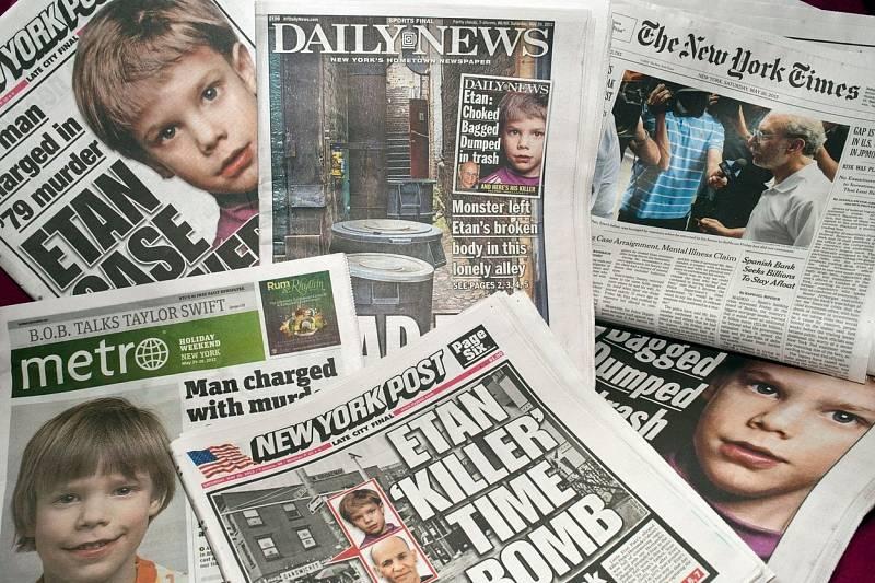 Titulní stránky tisku informující o vyřešení starého případu
