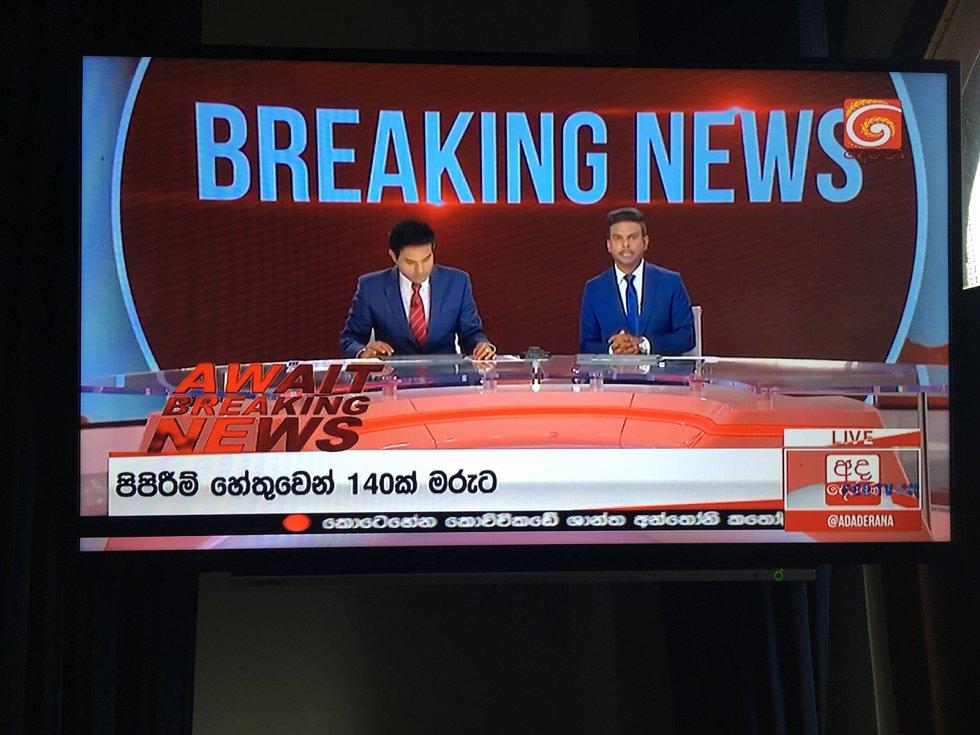 Útok na Srí Lance ve vysílání tamní celostátní televize
