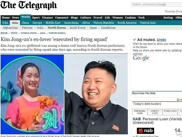 The Daily Telegraph přinesl zprávu o popravě bývalé přítelkyně severokorejského vůdce.