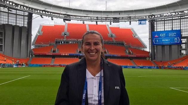 Dagmar Damková na stadiónu v Jekatěrinburgu