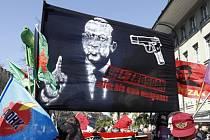 Protest v Bernu proti tureckému prezidentovi Recepu Tayyipu Erdoganovi.