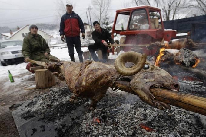 Oslava pravoslavných Vánoc v Bosně.