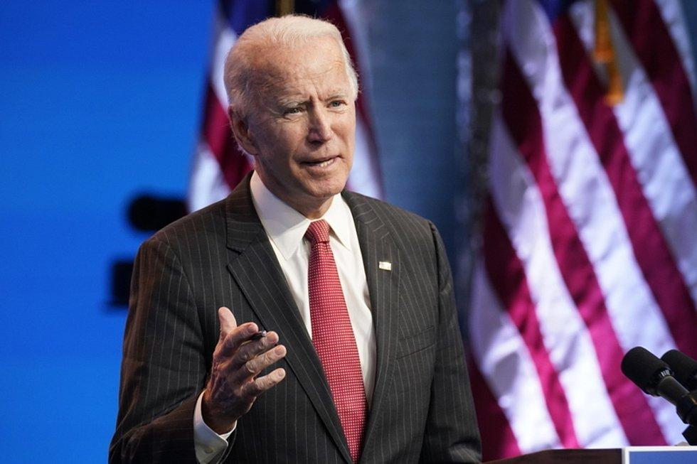 Zvolený americký prezident Joe Biden na tiskové konferenci ve Wilmingtonu 19. listopadu 2020
