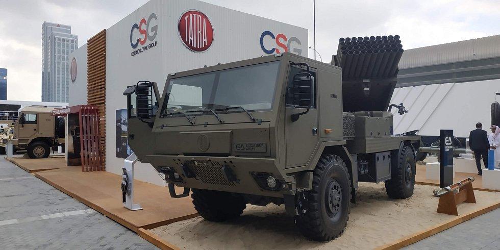 Společnost Excalibur Army z holdingu CSG nabízí mimo jiné i raketomet BM-21 MT.
