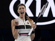Petra Kvitová a její radost na Australian Open.