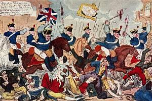 Masakr v Peterloo na dobových obrazech a karikaturách