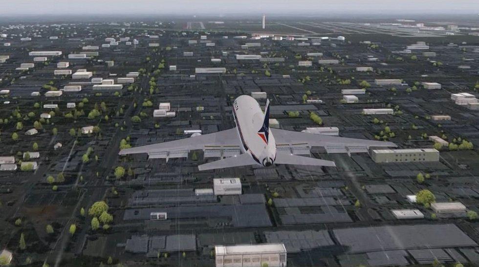 Počítačová animace zachycující přiblížení letadla Lockheed L-1011-385-1 TriStar k dallaskému letišti