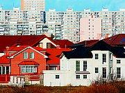 Ilustrace bydlení a stavby bytových domů.