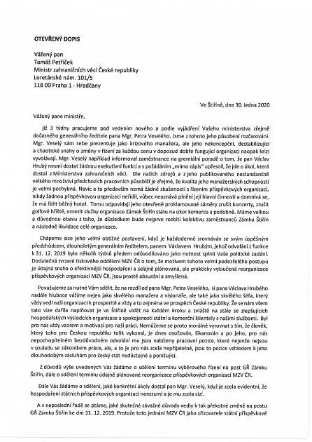 Otevřený dopis na MZV