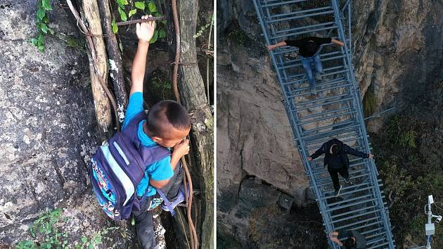 Děti z čínské vesnice A-tchu-le-er už nemusejí cestou do školy zdolávat příkrý sráz
