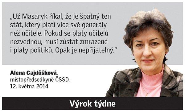 Citát Aleny Gajdůškové.