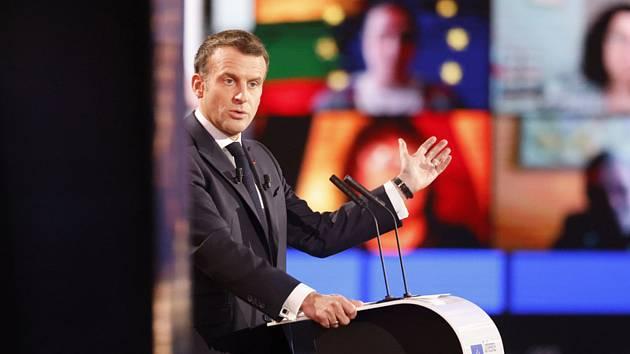 Francouzský prezident Emmanuel Macron na konferenci o budoucnosti Evropy v Evropském parlamentu