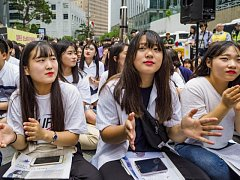 Můj život není tvoje porno, protestují Korejky v Soulu