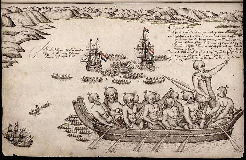 Evropané se setkali s Maory - původními polynéskými obyvateli Nového Zélandu - poprvé v 17. století. Takto je ve svém deníku z roku 1642 vykreslil nizozemský cestovatel Abel Tasman