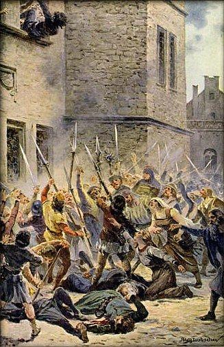 Svržení novoměstských konšelů z radnice v podání malíře Adolfa Liebschera