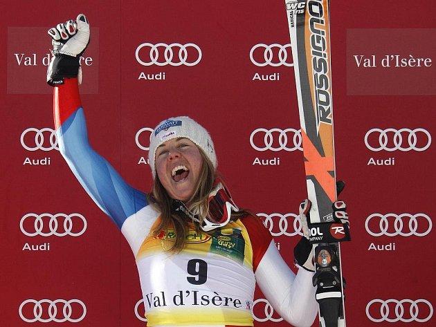 Švýcarka Fränzi Aufdenblattenová slaví své první vítězství ve Světovém poháru. Vyhrála superobří slalom ve Val d'Isere.