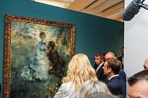 Francouzský prezident Emmanuel Macron si v doprovodu premiéra Andreje Babiše a jeho ženy Moniky prohlédl v Národní galerii jedinečnou sbírku francouzského umění.