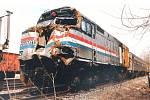 Motorová lokomotiva washingtonského rychlíku po srážce