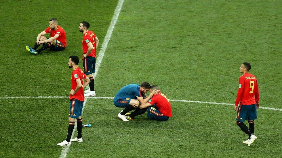Španělsko končí, mezi hráči zavládl smutek.