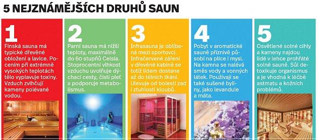 Pět nejznámějších druhů saun - Infografika