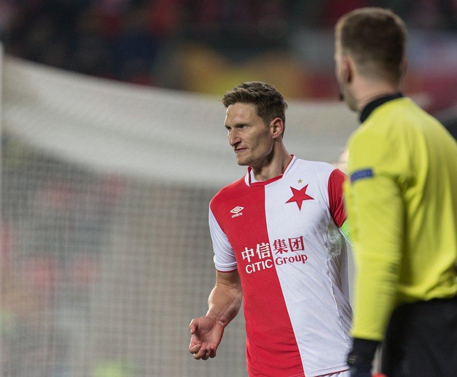SK Slavia Praha vs. KRC Genk. Na snímku Milan Škoda.