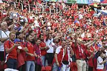 Čeští fanoušci v Budapešti.