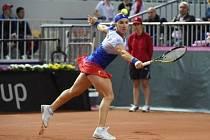 Ruska Světlana Kuzněcovová v semifinále Fed Cupu proti Německu.