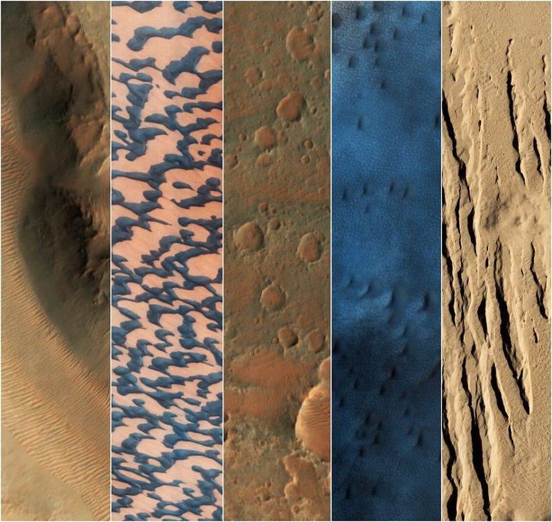 Vzorky různých povrchů Marsu, jak je zachytila kamera HiRise