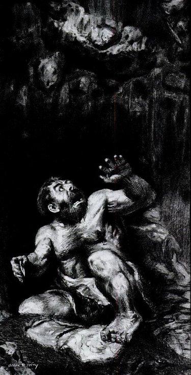 Neandertálcova smrt po propadu stropu jeskyně v umělecké představě
