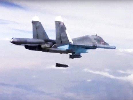 Útok ruského bombardéru  Su-34.