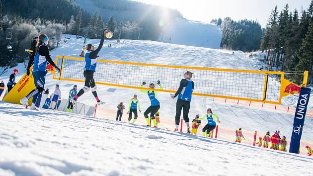 Snowvolejbal je pořádně atraktivní sport.