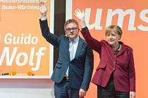 Guido Wolf a Angela Merkelová při předvolebním mítinku CDU v Haigerlochu.