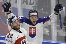 Slovák Krištof slaví svůj druhý gól na MS do sítě Rakouska. Jeho týmu dal definitivu k výhře 4:2.