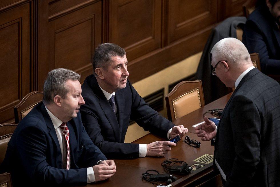 Předseda Sněmovny reprezentantů amerického Kongresu Paula Ryana vystoupil 27. března v Praze se svým projevem ve Sněmovně. Na snímku Richard Brabec, Andrej Babiš a Jaroslav Faltýnek.