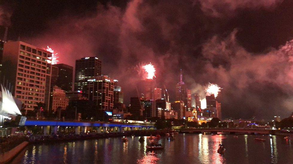 Novoroční ohňostroj v australském Melbourne