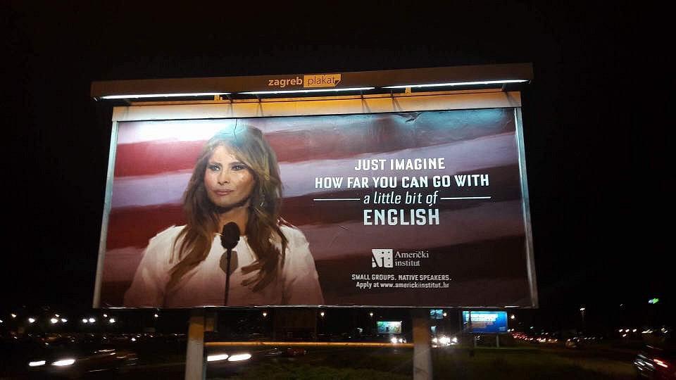 Chorvatská billboardová kampaň s Melanií Trumpovou
