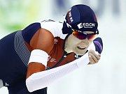 Rychlobruslařka Martina Sáblíková v závodu SP na 3000 metrů v Salt Lake City.