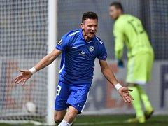 Liberecký Egon Vůch se raduje z gólu proti Karabachu.
